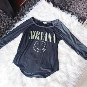 NIRVANA Long Sleeve Tee T-Shirt Top Music Black S